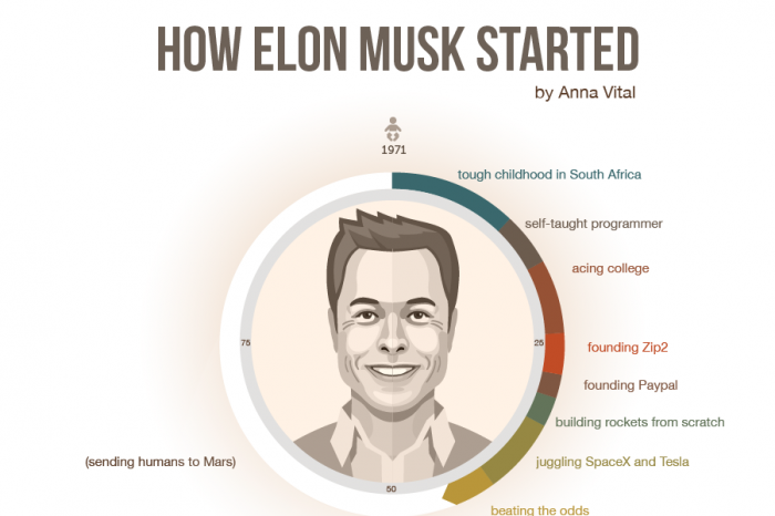 how elon musk started - infographic biography