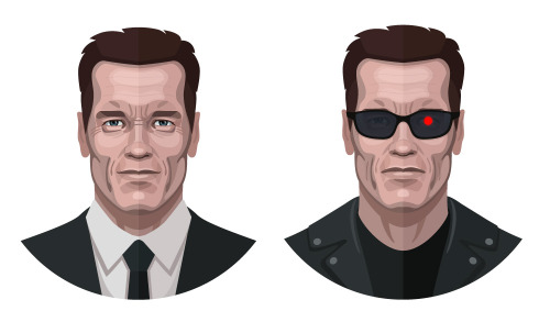 Arnold Schwarzenegger an Terminator face illustration for an infographic