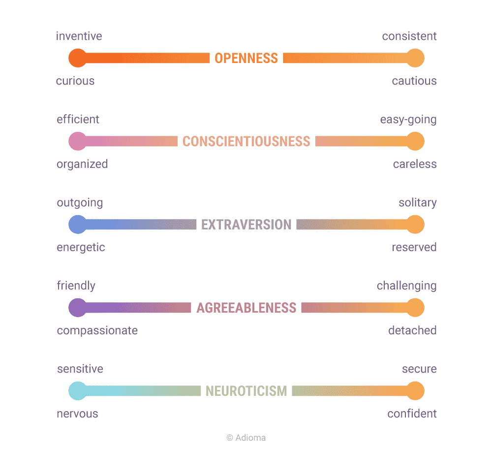 in this chart, it was also important to show that every personality trait  has a flipside, like the other side of the same coin  for example, if  someone is